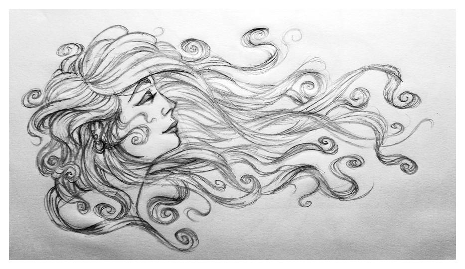 Woman hair sketch