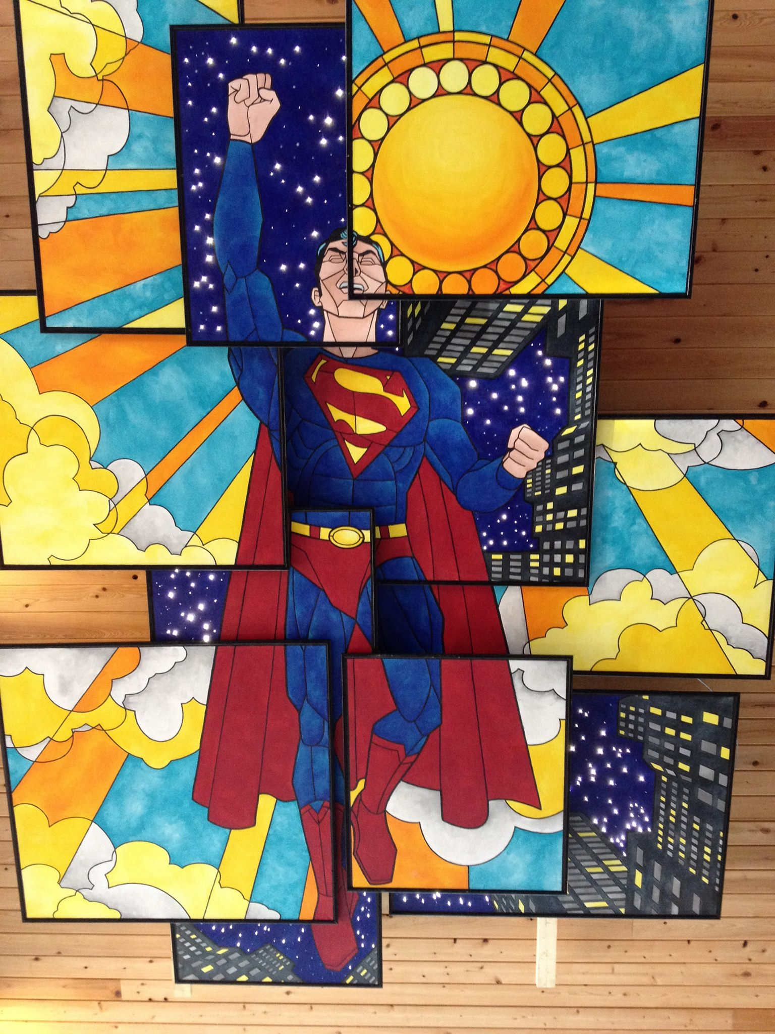 Stained Glass Superman ceiling mural